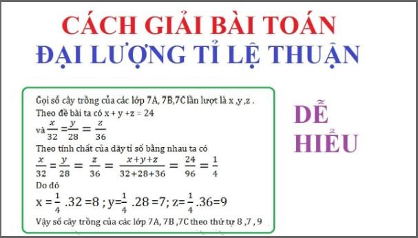 cách giải bài toán đại lượng tỷ lệ thuận